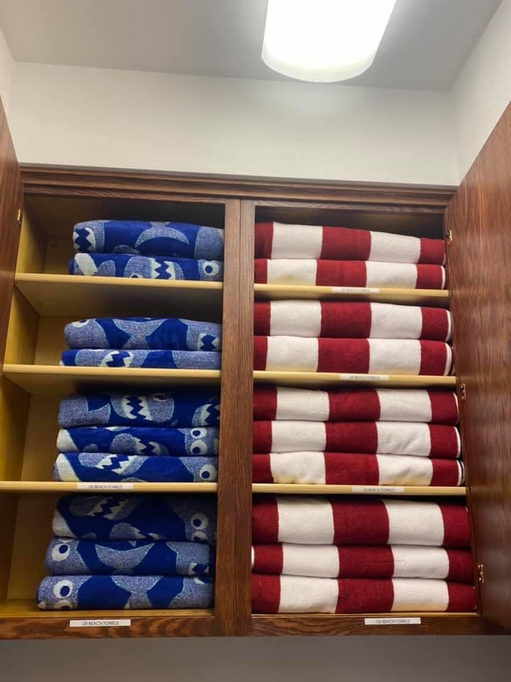 Fully stocked cabinets with full-sized quality beach towels! Perfect to grab-and-go!